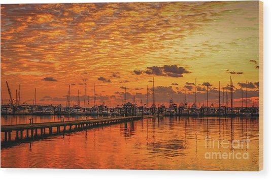 Golden Orange Sunrise Wood Print