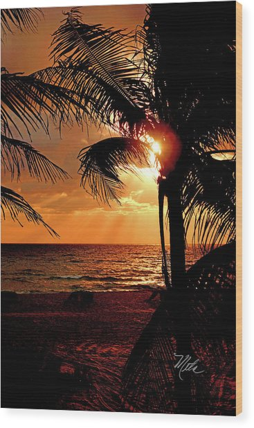 Golden Palm Sunrise Wood Print