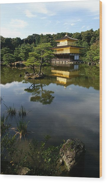 Golden Pavilion In Kyoto Wood Print by Jessica Rose