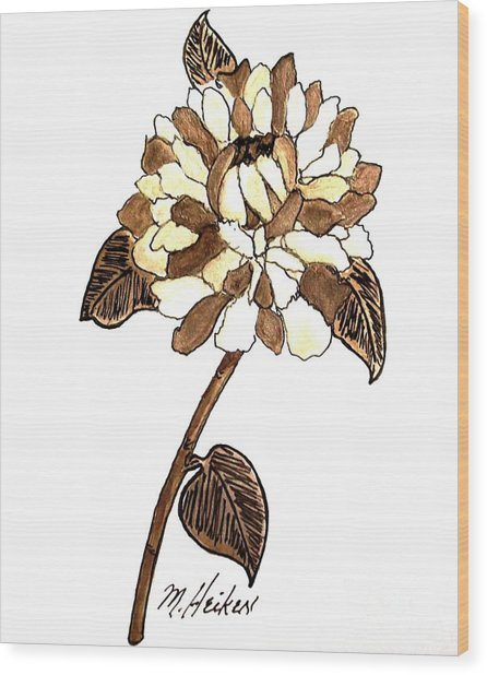 Golden Peony Wood Print