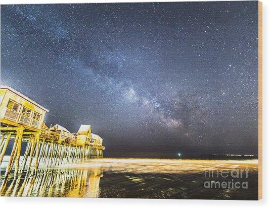 Golden Pier Under The Milky Way Version 1.0 Wood Print