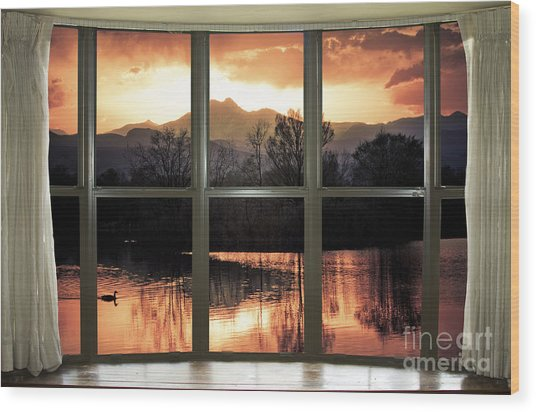 Golden Ponds Bay Window View Wood Print