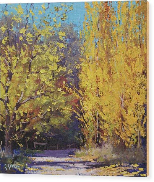 Golden Poplars Wood Print