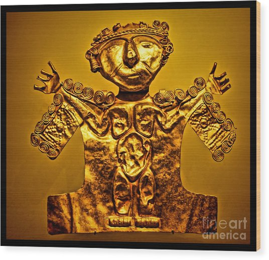 Golden Priest Statue Wood Print