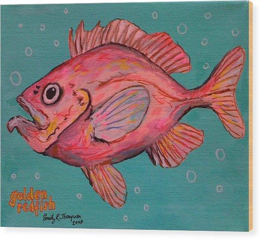 Golden Redfish Wood Print by Emily Reynolds Thompson