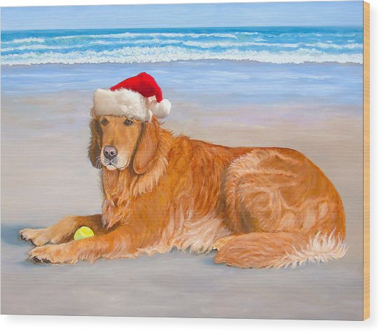 Golden Retreiver Holiday Card Wood Print