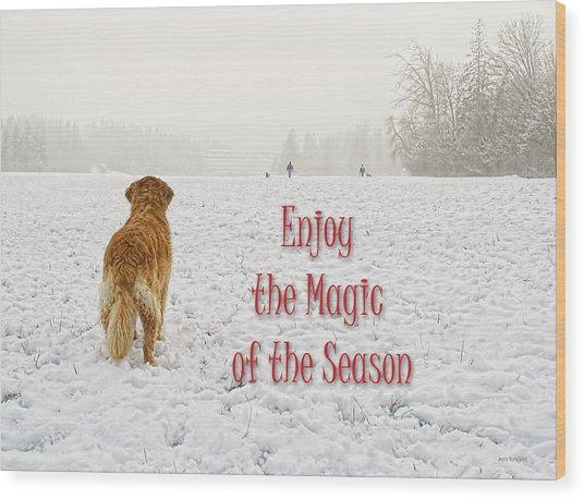 Golden Retriever Dog Magic Of The Season Wood Print