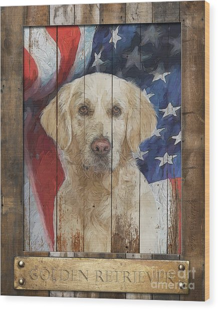 Golden Retriever Flag Poster Wood Print by Tim Wemple