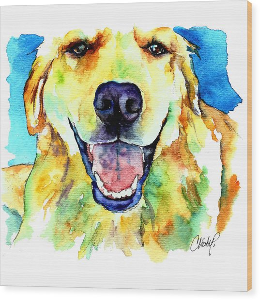 Golden Retriever Portrait Wood Print