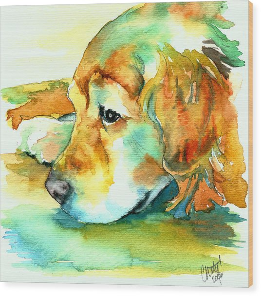 Golden Retriever Profile Wood Print