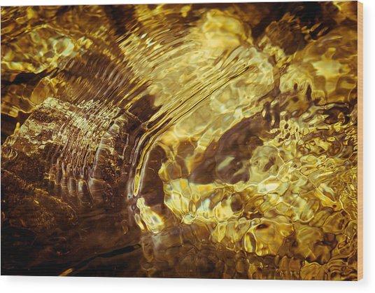 Golden Ripples Wood Print
