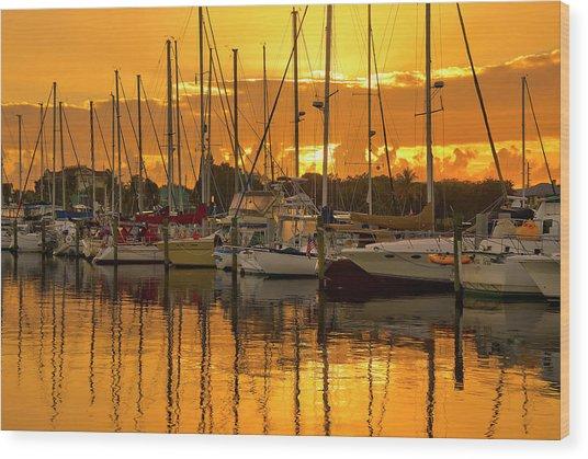 Golden Sailboat Sunrise Over Stuart Marina, Florida Wood Print