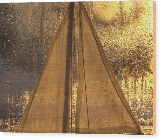 Golden Sails Wood Print by Lori  Secouler-Beaudry