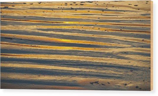 Golden Sand On Beach Wood Print