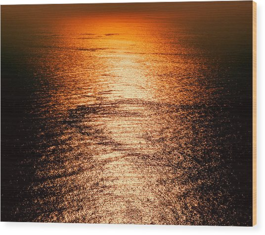 Golden Sea In Alanya Wood Print