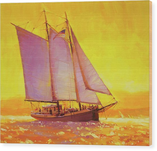 Golden Sea Wood Print