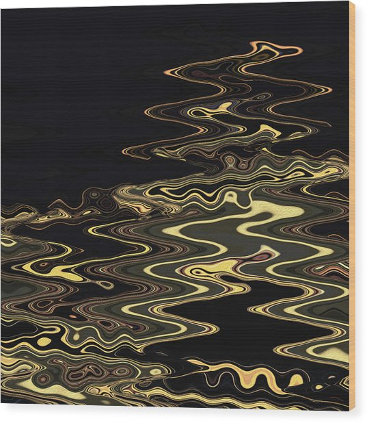 Golden Shimmers On A Dark Sea Wood Print