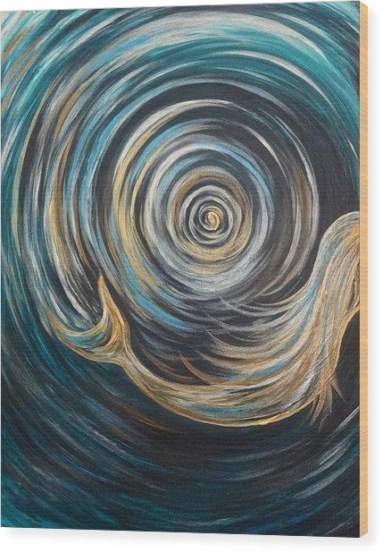 Golden Sirena Mermaid Spiral Wood Print