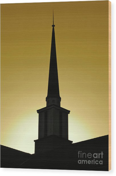 Golden Sky Steeple Wood Print