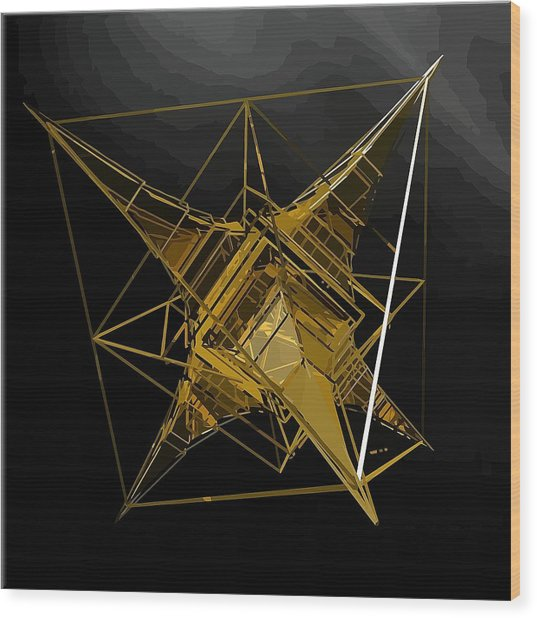 Golden Space Craft Wood Print