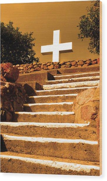 Golden Stairway Wood Print