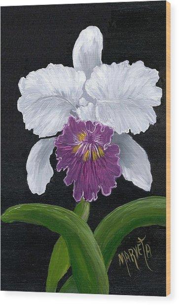 Golden Star Orchid Wood Print by Marveta Foutch