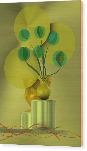 Golden Still Life Wood Print