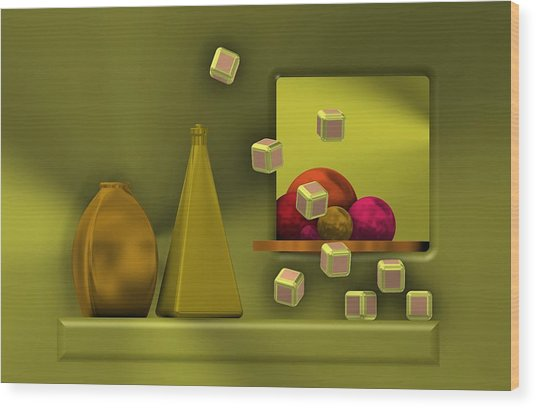 Golden Still Life With Red Balls  Wood Print