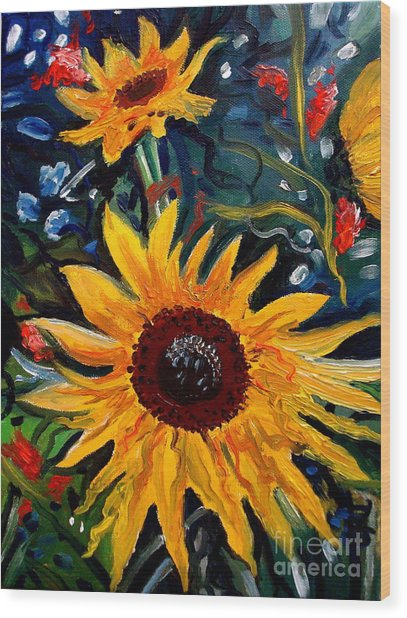 Golden Sunflower Burst Wood Print
