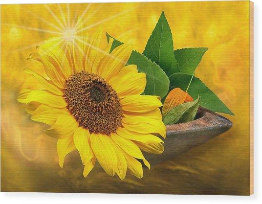 Golden Sunflower Wood Print