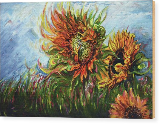 Golden Sunflowers - Harsh Malik Wood Print
