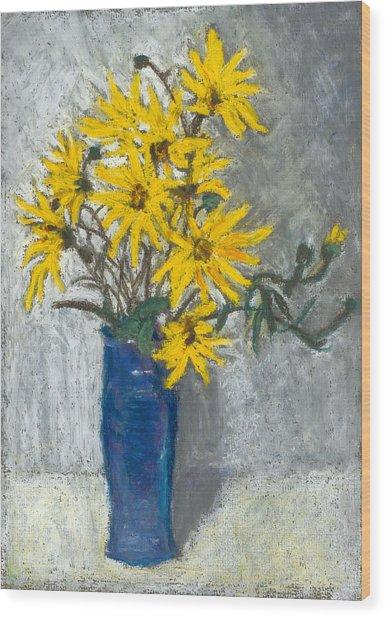 Golden Sunflowers In Blue Vase Wood Print by Judy Adamson