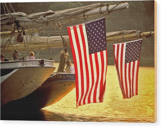 Golden Sunset And American Flags Wood Print by Stephen Sisk