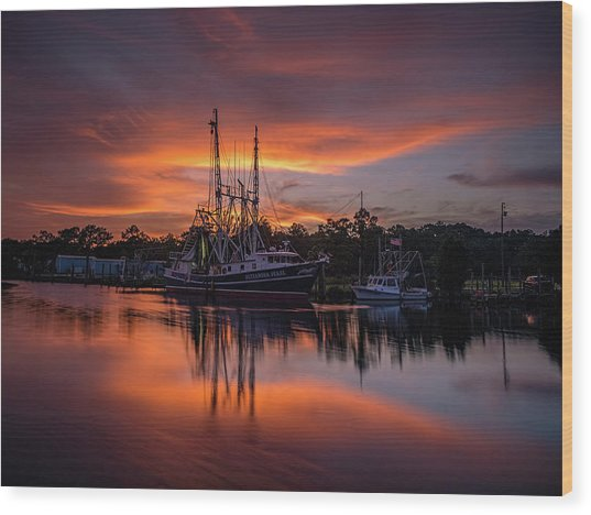 Golden Sunset On The Bayou Wood Print