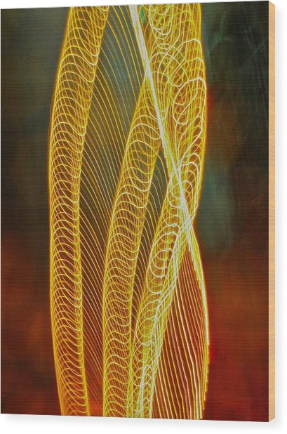 Golden Swirl Abstract Wood Print