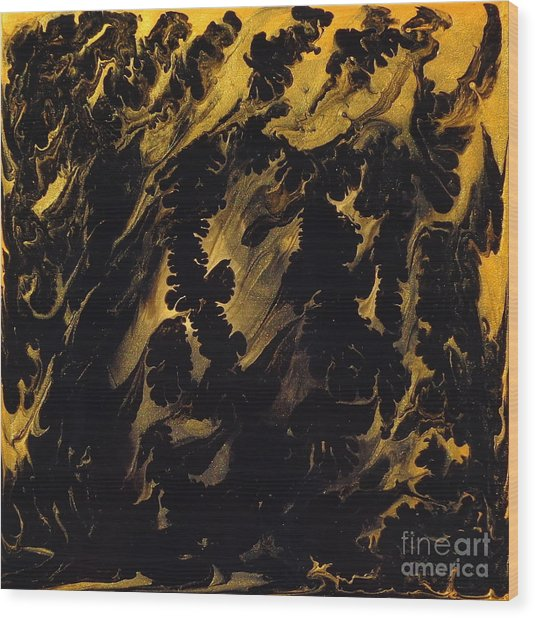 Golden Swirls Wood Print