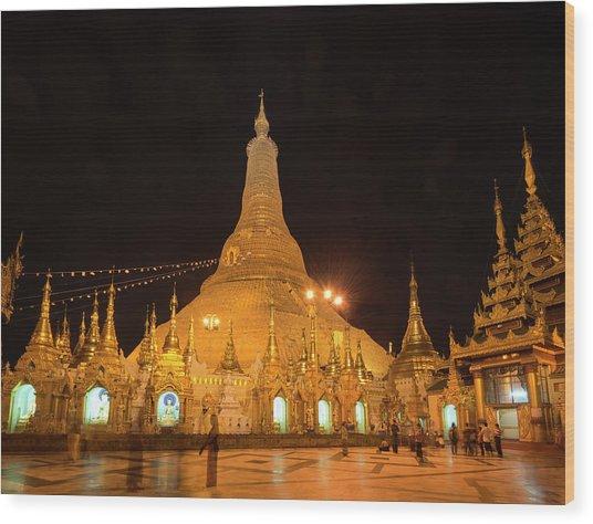 Wood Print featuring the photograph Golden Temple Of Yangon, Shwedagon Pagoda At Night, Myanmar by Pradeep Raja PRINTS