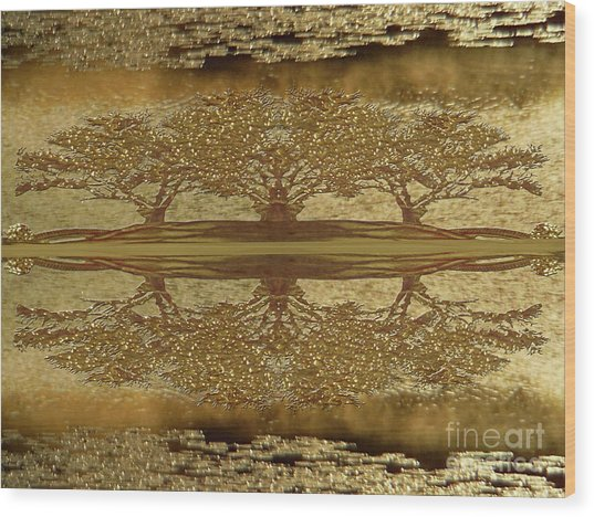 Golden Trees Reflection Wood Print