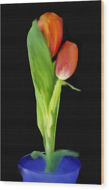 Golden Tulips Wood Print by Daniel D Miller