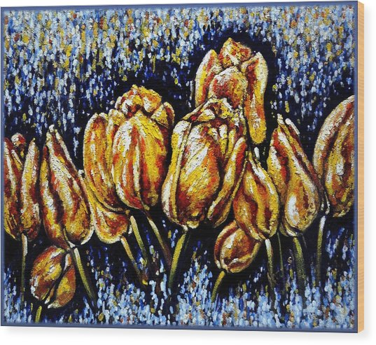 Golden Tulips Wood Print