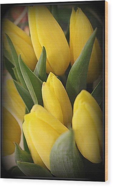 Golden Tulips Wood Print
