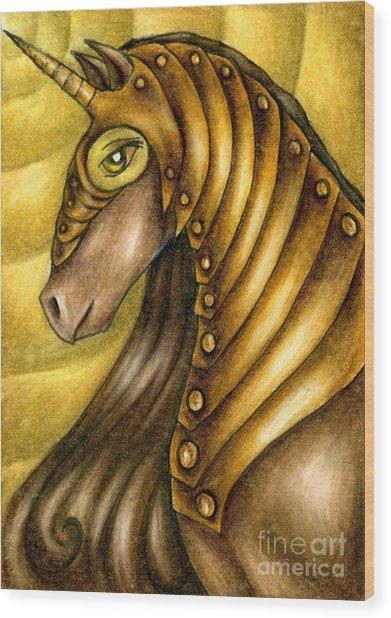 Golden Unicorn Warrior Art Wood Print