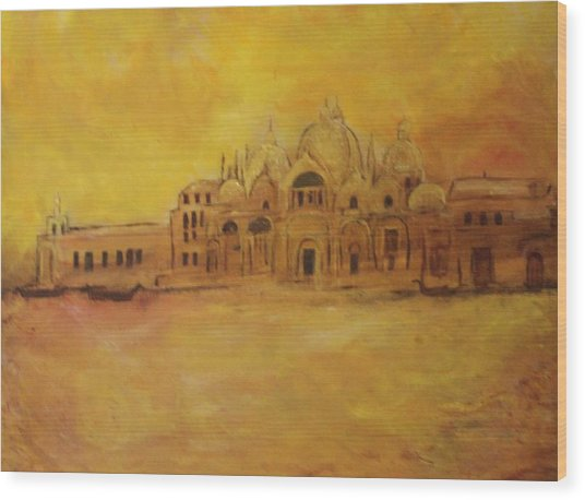 Golden Venice Wood Print by Michela Akers
