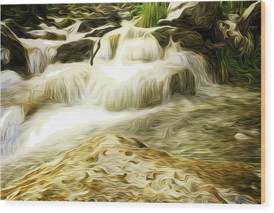 Golden Waterfall Wood Print