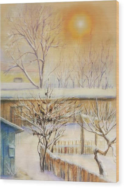 Golden  Winter Morning  Wood Print