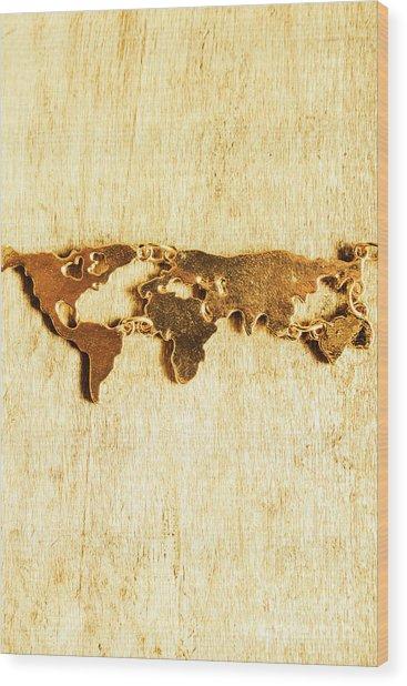 Golden World Continents Wood Print