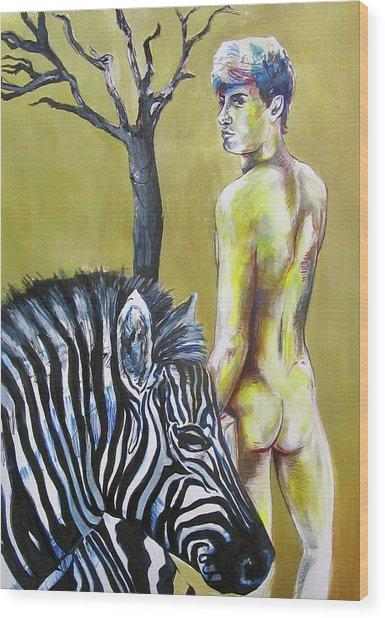 Golden Zebra High Noon Wood Print