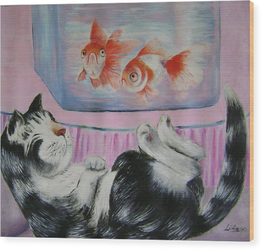 Goldfish Dream Wood Print by Lian Zhen