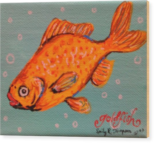 Goldfish Wood Print by Emily Reynolds Thompson