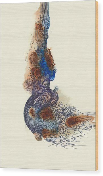 Goldfish - #ss14dw026 Wood Print by Satomi Sugimoto